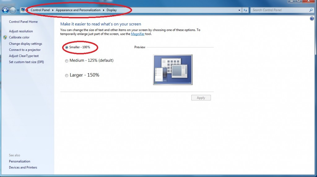 Windows display setting